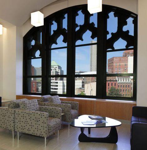SUNY Plaza building window